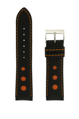 Sport Watch Band with Black Leather and Orange Cut-Outs | Topstitched Watch Straps | Replacement Band LEA1262 by TechSwiss | Main