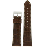 Watch Band Genuine Alligator Brown White Stitching Mens 18mm - 22mm