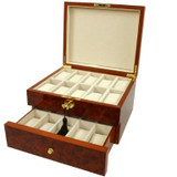 Burlwood watch Box with Tassel Key - BOXBUR20 - Open View