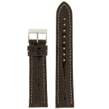 Watch Band Genuine Crocodile Dark Brown Thick Padded White Stitched Mens 18mm 20mm 22mm