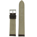 Watch Band Genuine Crocodile Dark Brown Thick Padded White Stitched