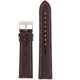 Watch Band Genuine Crocodile Burgundy Thick Padded White Stitched