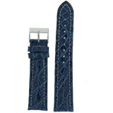 Watch Band Genuine Crocodile Blue Thick Padded White Stitched - Shiny