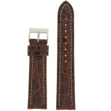 Watch Band Genuine Crocodile Chestnut Brown Thick Padded White Stitched Mens 18mm 20mm 22mm