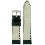 Watch Band Genuine Leather Black Crocodile Grain Padded