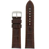 Watch Band Genuine Leather Brown Crocodile Grain Padded