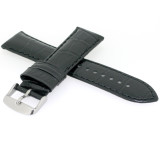 Long Black Leather Watch Band   Long Crocodile Grain Watch Straps   Stainless Steel Buckle   Long TechSwiss Leather Bands   TechSwiss LEA1840   Buckle