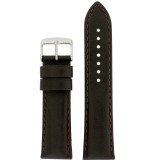 Long Dark Brown Leather Watch Band with Topstitch | Padded Classic Leather Straps | TechSwiss LEA1910 | Main