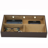 Leather Electronic Valet | Mens Charger Station | Luxury Mens Storage | TechSwiss  TS6904BWN | Front