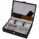 Valet Leather Watches Jewelry Glasses Box (TS7180) angled open picture