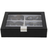 Sunglass Display Case | Wooden Eyeglass Box | Sunglass Storage | TechSwiss TSSG500ESSBK | Front