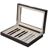 Brown Wood Fountain Pen Case | Mens Luxury Organizers | TechSwiss TSPEN400ESBRN | Open Side View