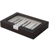 Brown Wood Fountain Pen Case | Mens Luxury Organizers | TechSwiss TSPEN400ESBRN | Open Side Closed