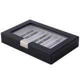 Pen Box in Black Wood Grain by TechSwiss - Side View Closed