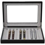 Pen Box in Black Wood Grain by TechSwiss - Front View Open