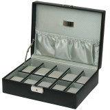 Black Leather Watch Box 10 Watches with Engravable Plate (TS4100BLK) open slanted picture without items