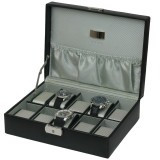 Black Leather Watch Box 10 Watches with Engravable Plate (TS4100BLK) open picture with items