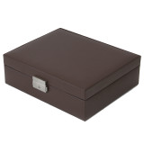 Brown Leather Storage Valet Case Watches Jewelry (TS5210BRN) closed angle picture