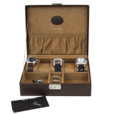 Brown Leather Storage Valet Case Watches Jewelry (TS5210BRN) open front facing picture