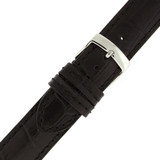 Long Black Leather Alligator Grain Watch Band | TechSwiss Long Leather Watch Bands  | LEA1565 | Buckle