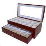 Cherry Watch Box for 24 Watches - Gold Handle - TechSwiss - TSBXA24CH - Side View