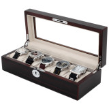 Contemporary Wood Watch Box | Compact Case TS6100BLKBRN | Open View
