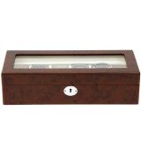 Burlwood Watch box for 6 Watches | TS6100BROWN | Front View