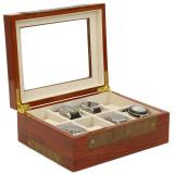 Teak Watch Box with Leather Trim | Stylish Mens Organizers & Accessories |  TechSwiss  TSBOX8200 | Open