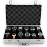 Silver Aluminium Watch Case for 12 Watches in Medium