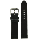 Long Black Leather Watch Band with White Topstitching   Durable Sport Long Leather Watch Straps    TechSwiss LEA1366)   Lining