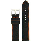 Long Black Leather Watch Band with Orange Topstitching | Durable Sport Long Leather Watch Straps  | TechSwiss LEA1368) | Main