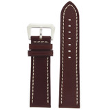 Watch Band Brown White Stitching Heavy Buckle LEA493 | Front