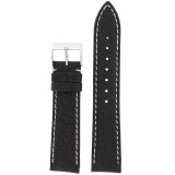 Mens Watch Band Water Resistant Leather Black LEA478