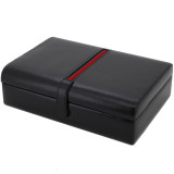 Mens Leather Valet Dresser Top Watch Case | Striped Premium Mens Organizers | TechSwiss TS8654BLK | Closed
