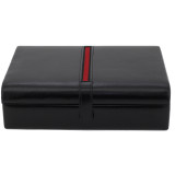 Mens Leather Valet Dresser Top Watch Case   Striped Premium Mens Organizers   TechSwiss TS8654BLK   Front Stripe