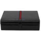 Mens Leather Valet Dresser Top Watch Case | Striped Premium Mens Organizers | TechSwiss TS8654BLK | Front Stripe
