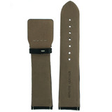 Italian Leather Watch Band in Black with White Contrast Stitching Sport
