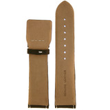 Brown Padded Leather Watch Band with White Topstitching | Contrast Stitching Watch Band | Leather LEA498 | Lining
