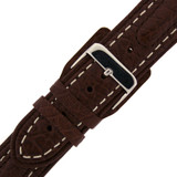 Brown Padded Leather Watch Band with White Topstitching | Contrast Stitching Watch Band | Leather LEA498 | Buckle
