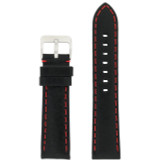 Panerai Style Watch Band Leather Black Red Stitching LEA580 | Front