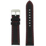 Panerai Style Watch Band Leather Black Red Stitching