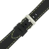 Yellow Stitching Black Padded Watch Strap | TechSwiss LEA582 | Side