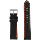 Orange Stitching Black Padded Watch Strap | TechSwiss LEA583 | Front