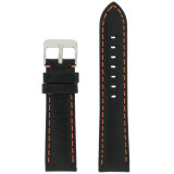 Orange Stitching Black Padded Watch Strap | TechSwiss LEA583