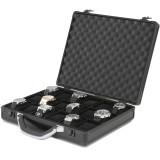 Watch Box Aluminum Metal Case 18 Watches Large Black ALBX18BK-TEX front open