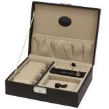 TechSwiss TSA521BRN | Mens Brown Leather Valet Case | TechSwiss | Open