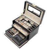 Black Leather Jewelry Box | TechSwiss Ladies Jewelry Case TS382BLK | Open