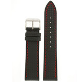 Watch Band Carbon Fiber Black Red Stitching Padded 18mm - 24mm