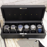 Solar Eco Drive Watch Charging Storage Box for 6 Watches Carbon Fiber Finish