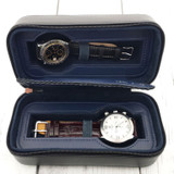 Travel Watch Case Compact for 2 Watches Storage Protection Zipper Black TS200BLK open